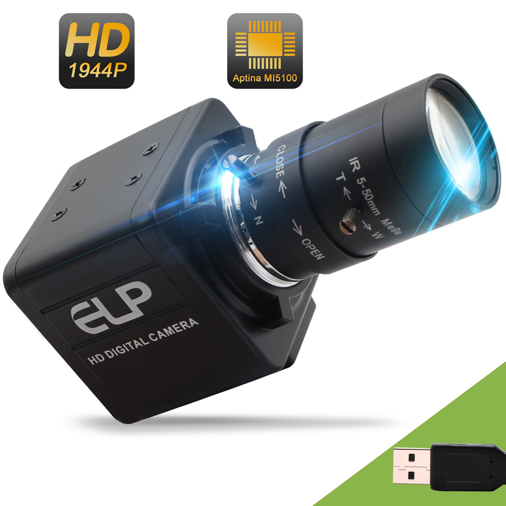 ELP Zoom Manual Focus Webcam 5MP Aptina MI5100 Sensor 1080P 30fps Free Driver Industrial USB Camera For Microscrope Telescrope