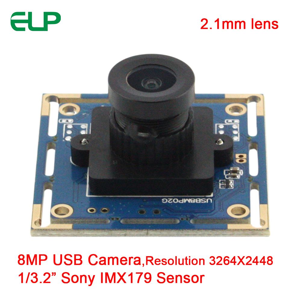 ELP 8 Megapixel HD Webcam Camera Module adopt Sony IMX179 sensor with 2.1mm wide angle lens