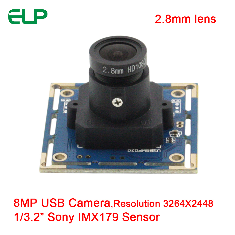 ELP High Resolution Sony IMX179 Sensor 8MP 0.5lux Mini USB Camera Module for Android/Linux/Windows Industrial Webcam,2.8mm lens