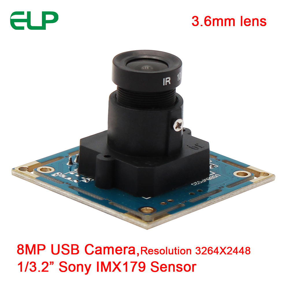 ELP 8MP 3264X2448 MJPEG YUY2 3.6mm lens SONY IMX179 CMOS microscope USB small video camera