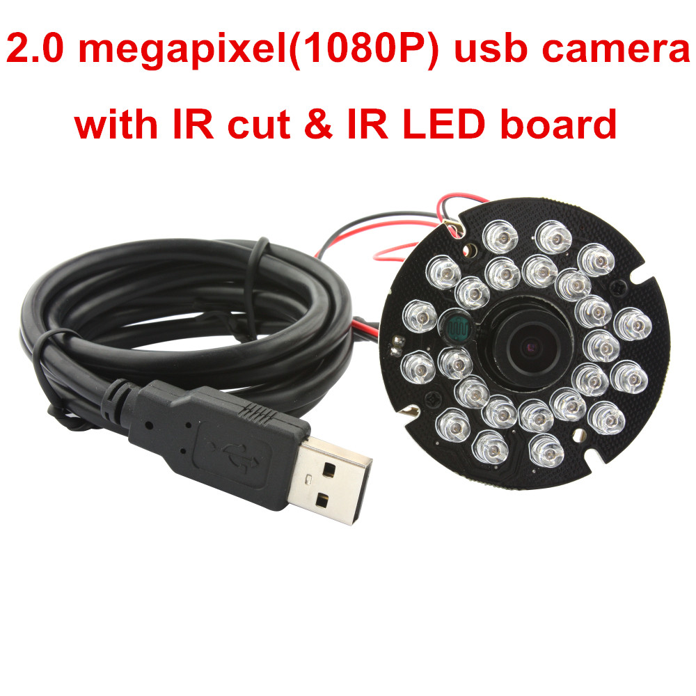ELP Infrared USB Camera Support IR Cut Free Driver 30fps 1080P CCTV Camera Board With 24pcs IR LED
