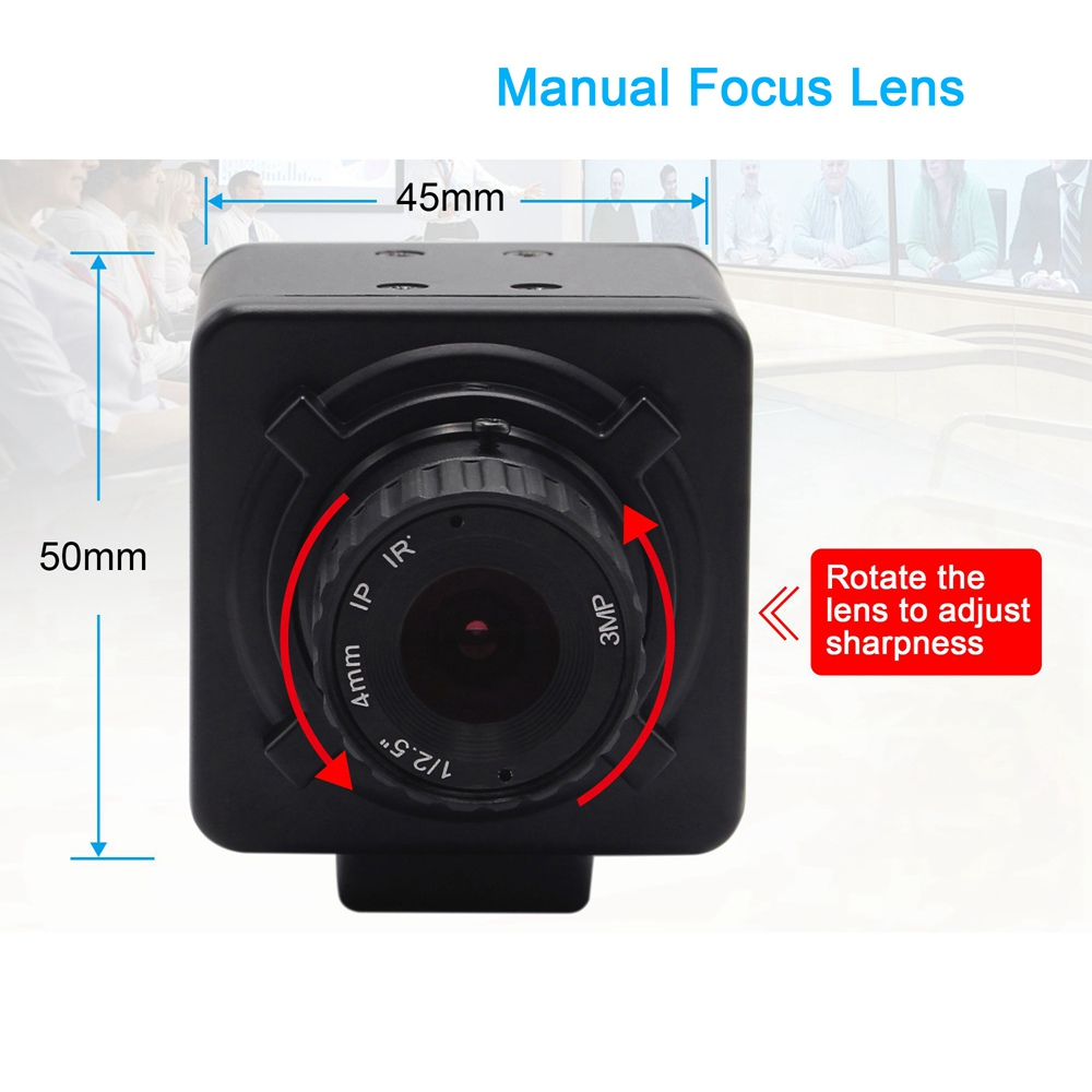 ELP 8Mpixels USB Camera Sony IMX179 Sensor HD PC Webcam With UVC Fixed Focal Length Manual Focus Webcam For Windows, Linux,Android (4mm/6mm/8mm optional)