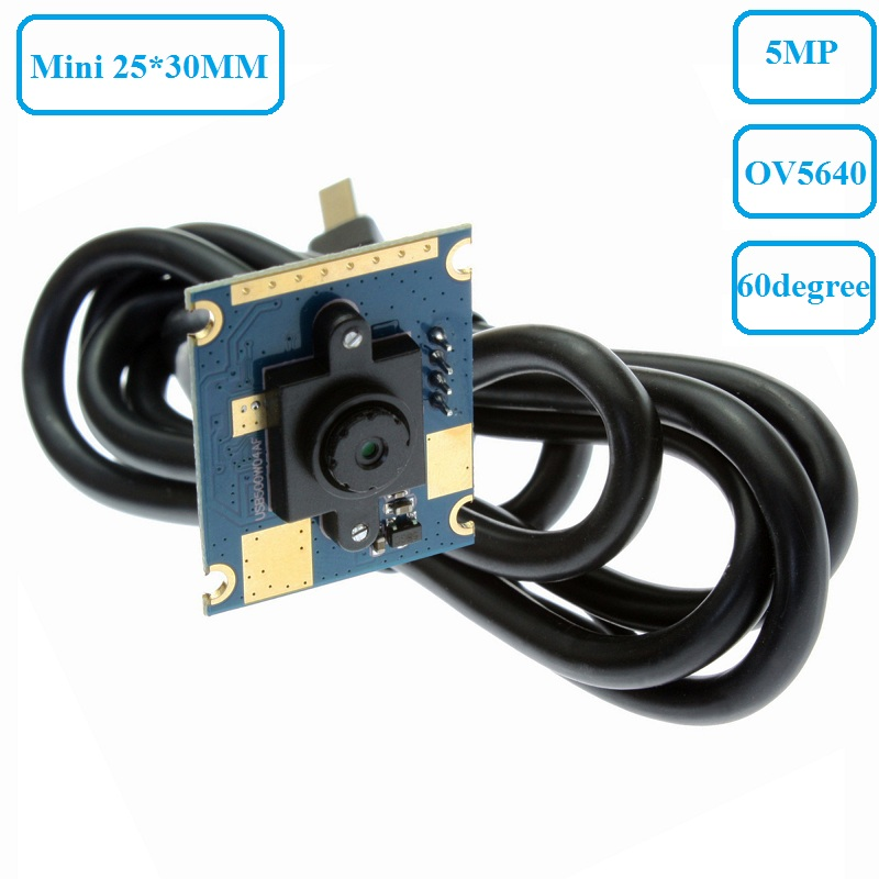 ELP 5MP 2592*1944 Super Mini 30*25mm CMOS OV5640 UVC USB Embedded Camera Module for Industrial Machine (60Degree fixed focus lens)