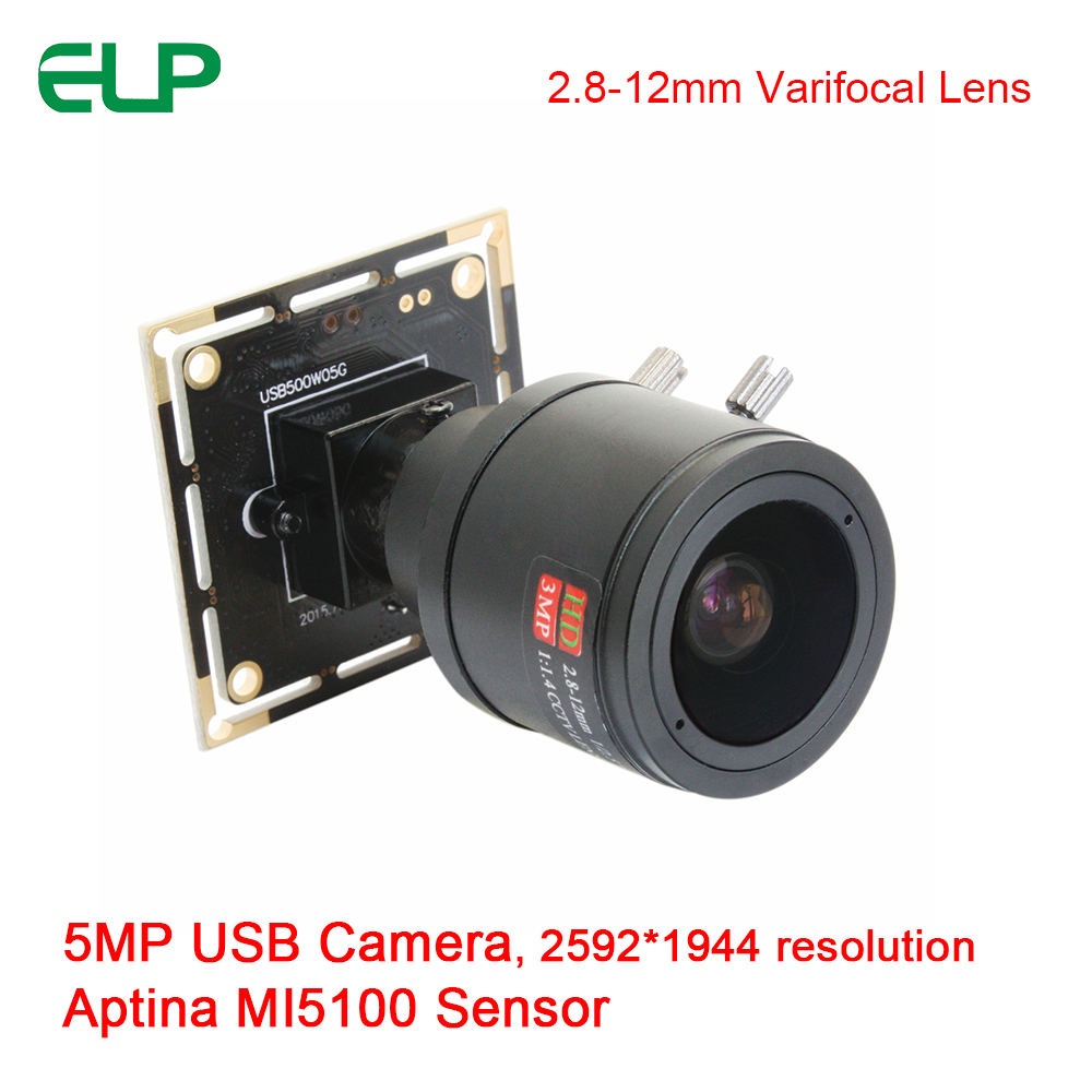ELP Manual Focus 2.8-12mm Zoom 5mp 2592 X 1944 High Definition Aptina MI5100 HD USB2.0 Camera Driverless