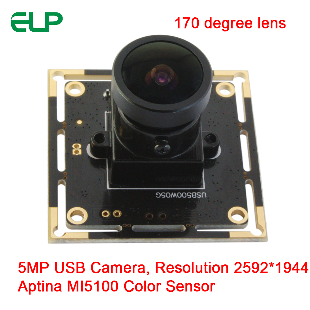 ELP Fisheye Lens 5mega pixels HD CMOS Sensor 170degree Wide Angle USB Webcam For Windows Linux Android system