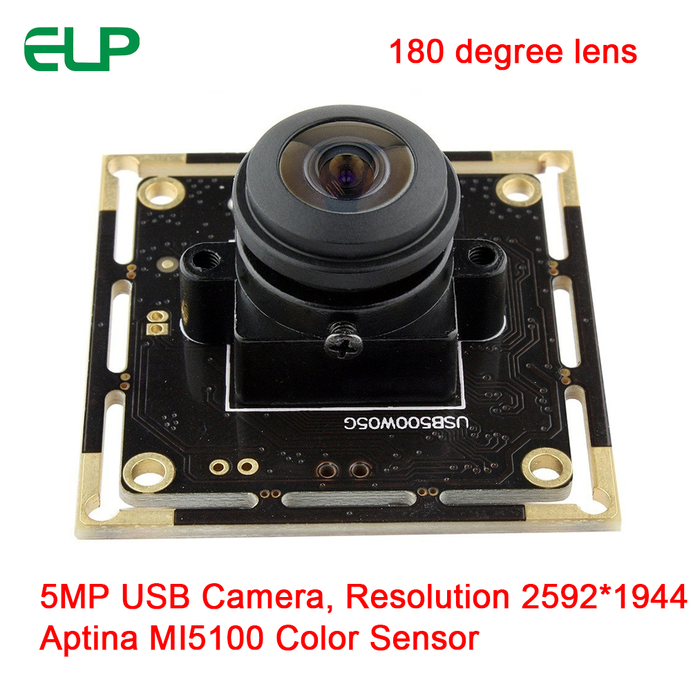 ELP 180degree Fisheye 5MP Aptina MI5100 Sensor Free Driver UVC OTG USB Web Camera For Android Windows Lunix Mac