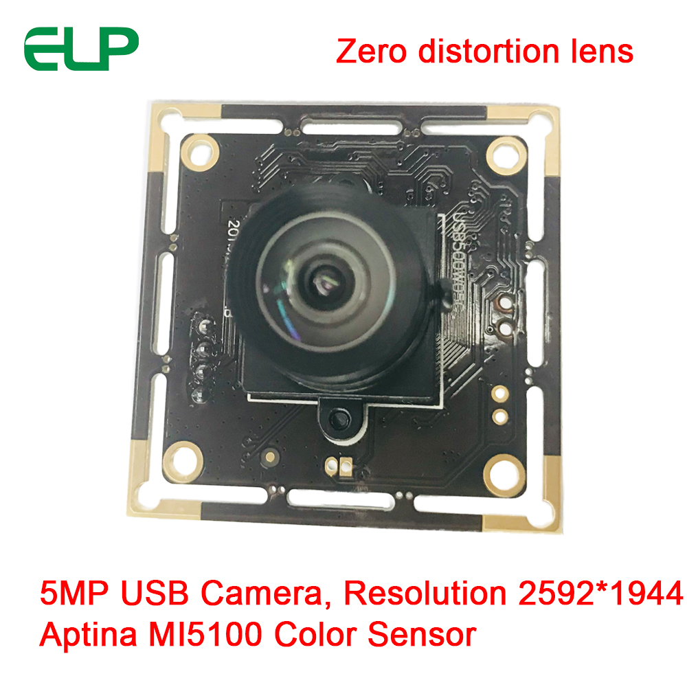ELP Wide FOV No distortion Lens 5Megapixels Aptina MI5100 Sensor USB2.0 Camera Module For Scanning Document / Passport / ID Card (2.97mm Undistortion Lens)