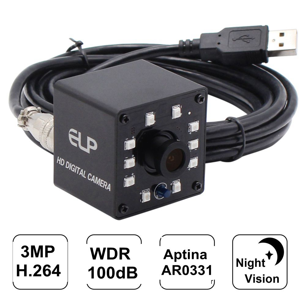 ELP 3MP WDR Micro AR0331 Sensor CCTV USB Webcam 10pcs IR LEDS Night Vision infrared USB Camera with 3.6mm lens (Support Microphone)