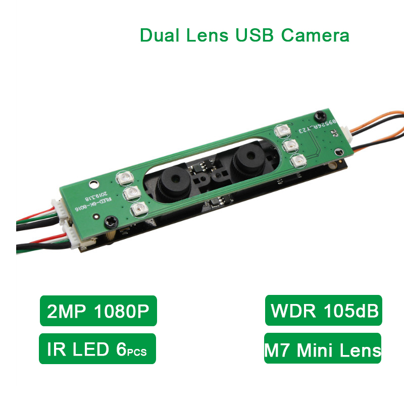 ELP WDR Dual Lens Stereo USB Camera 2megapxiels AR0230 Sensor 1920x1080 Night Vision HD Webcam With 6pcs IR LED